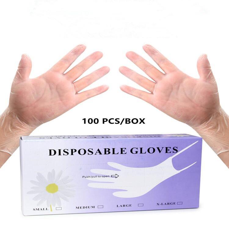 دي إتش إل الحرة الشحن! Ploves المتاح 100pcs التي / الكثير واقية من البلاستيك قفازات مصنع صالون المنزلية شفافة قفازات تنظيف حديقة FS9517