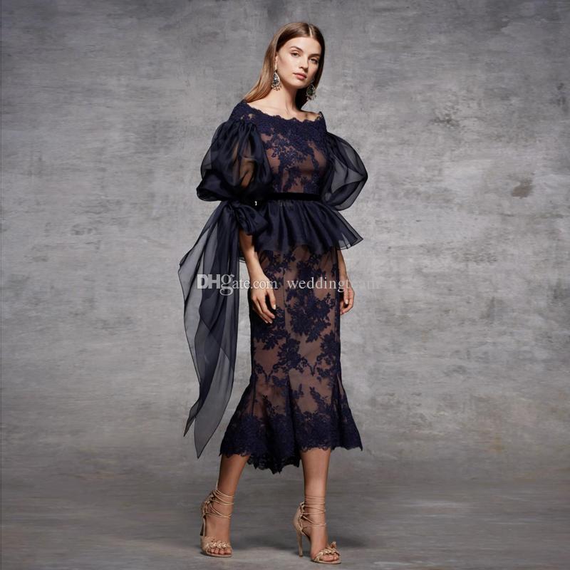 Koyu Lacivert Denizkızı Uzun Kollu Abiye Omuz Peplum Balo Abiye Çay Boyu Artı boyutu Resmi elbise Kapalı
