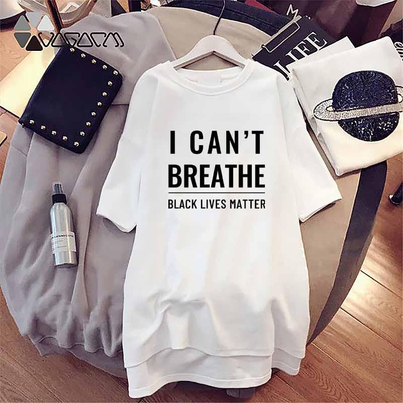 T-shirt das mulheres a forma das mulheres Eu não posso respirar Imprimir Crew Neck T-shirt Casual mulheres soltas de manga curta Tee Branco cores Tamanho M-4XL