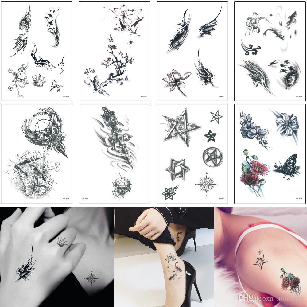 Trasferimento d'acqua Tattoo 3D Adesivo personalizzato piccolo fiore di loto Stella Totem Dreamcatcher Dragonfly ala Designs for Donna Uomo Bambini decalcomania di tatuaggio temporaneo