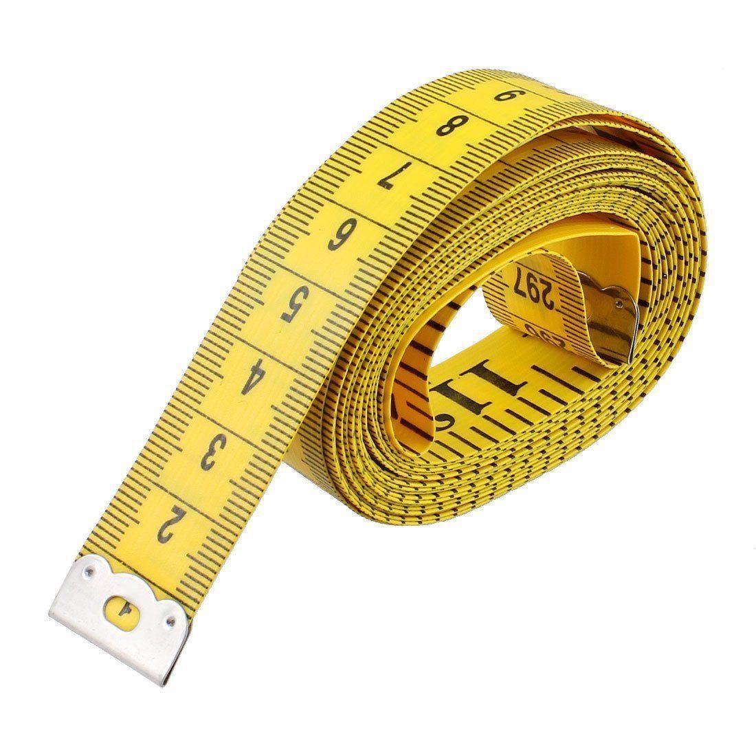 120-Inch 3 m Medidas de Fita Mole para Costurar Alfaiate Pano Régua de Costura de Costura Macio Tecido Fino de Medição de Fitas Amarelo