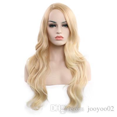 Длинные вьющиеся волосы женский химического волокна высокотемпературные шелковые волосы парик набор сплошной цвет золото мода