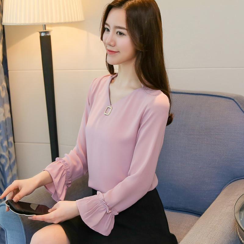 blusas mujer de moda 2019 casual chiffon long sleeve blouse womens tops and blouses shirts plus size solid OL femininas 1955 50