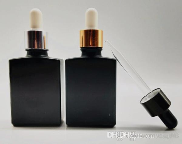 30 مل زجاجة ماتي أسود زجاج قطارة 1 أوقية العطر من الضروري النفط ه السائل زجاجة بلوري زجاج زجاجة مسطحة مربع مع غطاء الذهب والفضة