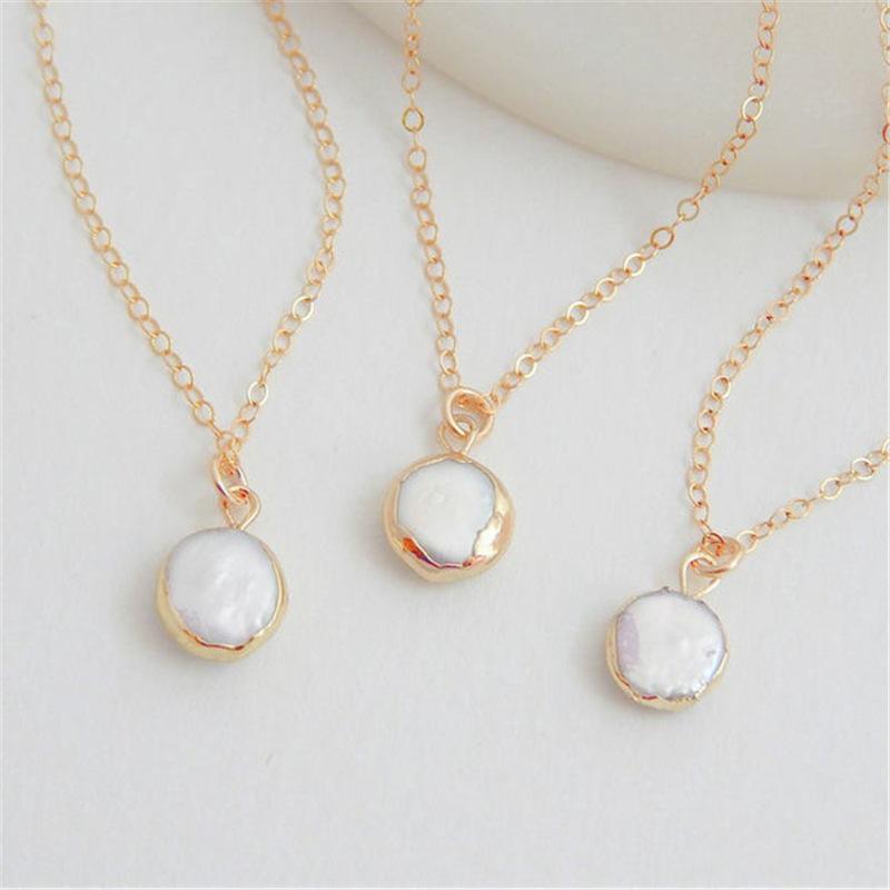 Frauen-weiße Perlen-Kette Natur Barock geformten Stein kurze Halskette Anfängliche Colar Halskette koreanischen StyleJewelry wünscht Geschenk