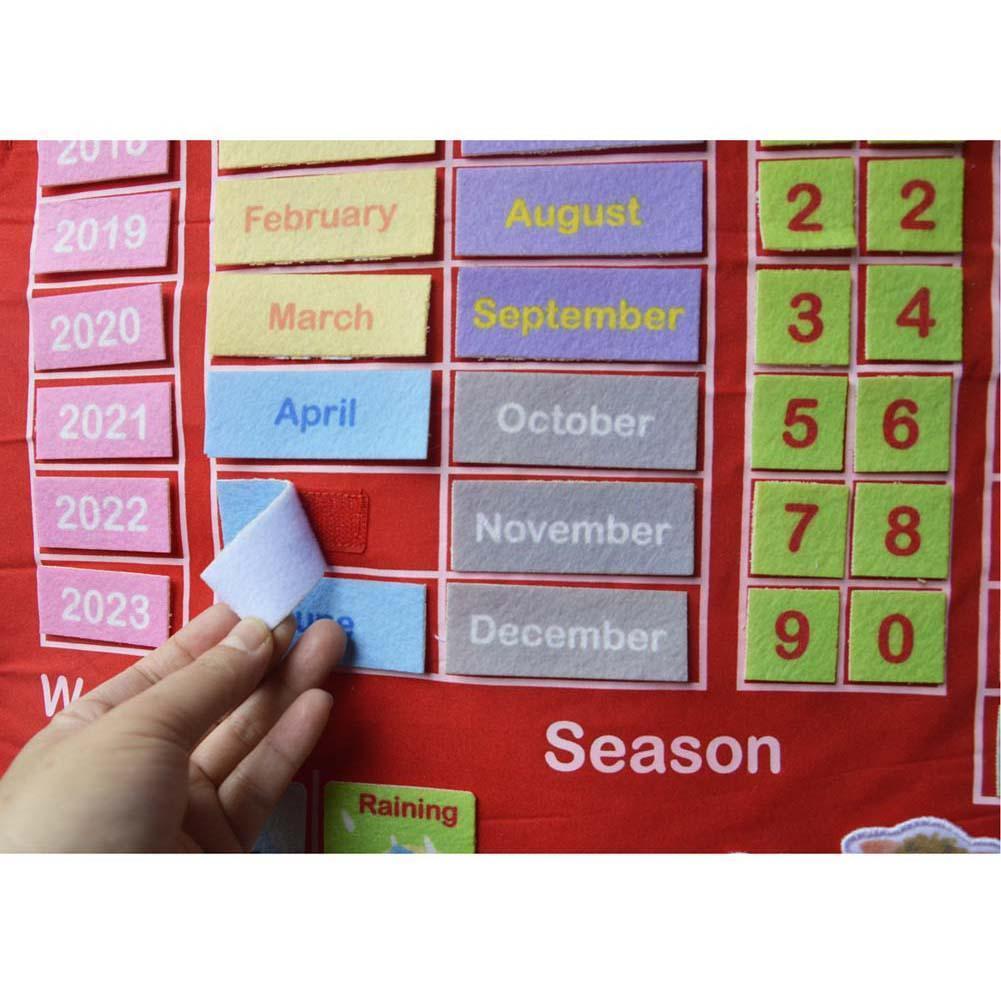 Jouets en bois Montessori bébé Météo Saison Calendrier Horloge temps Cognition Préscolaire éducation Teaching Aids jouets pour les enfants