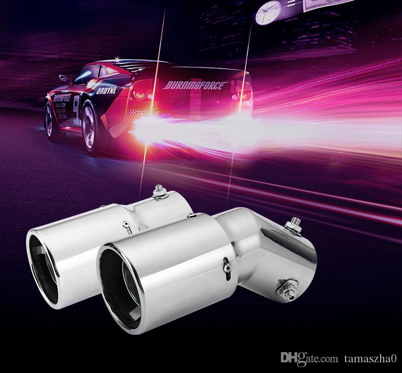 LOONFUNG LF223 Car Silenciador Tubo De Escape Dobre / Cauda Em Linha Reta Traseira Garganta Spitfire Flaming LEVOU Luz Vermelha de aço Inoxidável