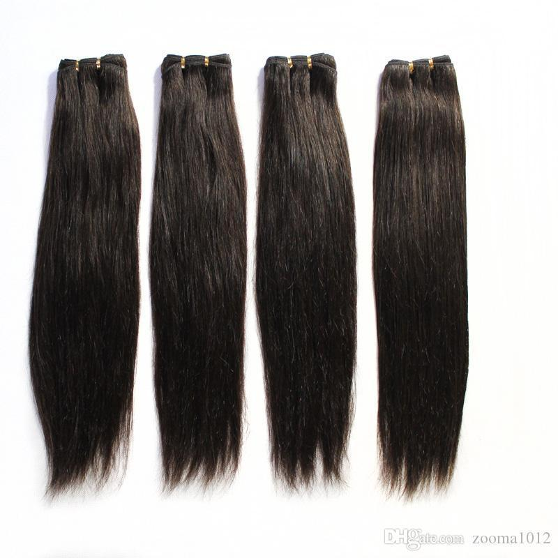 100شعر بشرى يسيل شعر برازيلى مستقيما و شعر مستقيما # 1B Black # 2 # 8 Brown # 613 Blond Mix Long Lengths Brazilian Hair Weave 12  -24