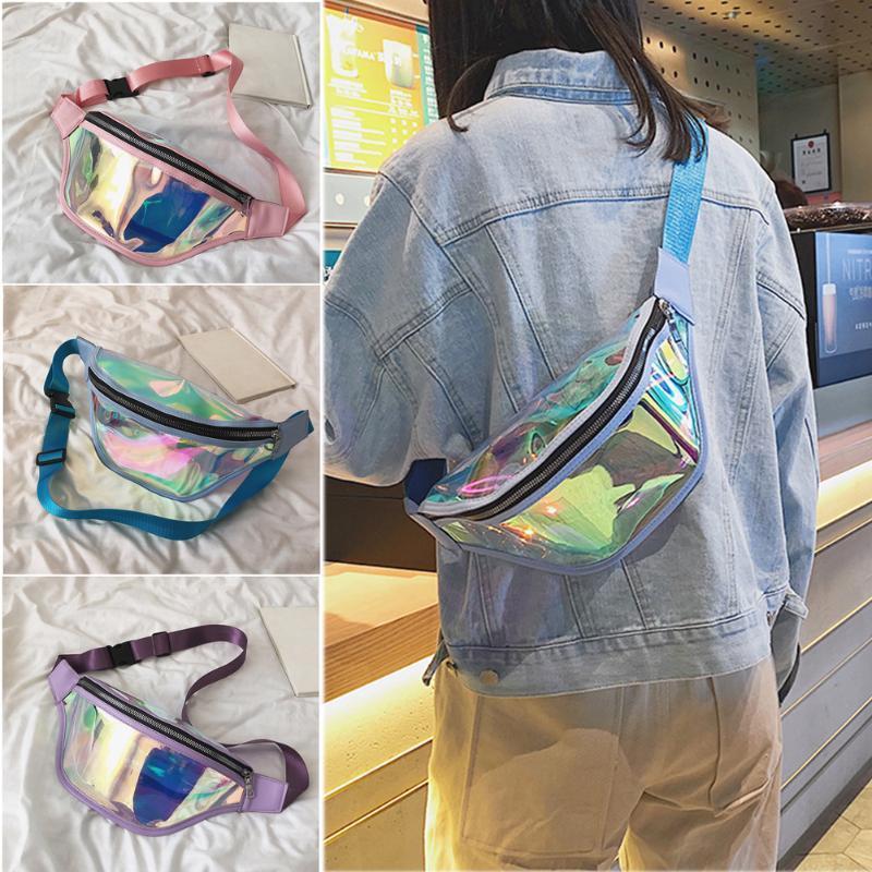 2020 frescos cintura empaqueta correa de la manera del vago bolsa impermeable claro transparente punk Fanny Pack de láser paquete de la cintura de las mujeres bolso de la cadera
