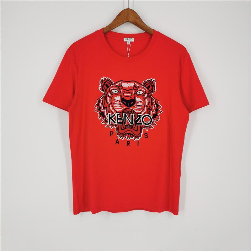 Marca de diseño para hombre de la moda del color rojo de las camisetas de chicas camiseta de manga corta camisas de cabeza de tigre verano de las mujeres camisetas de calidad superior B1RT0 2031703V