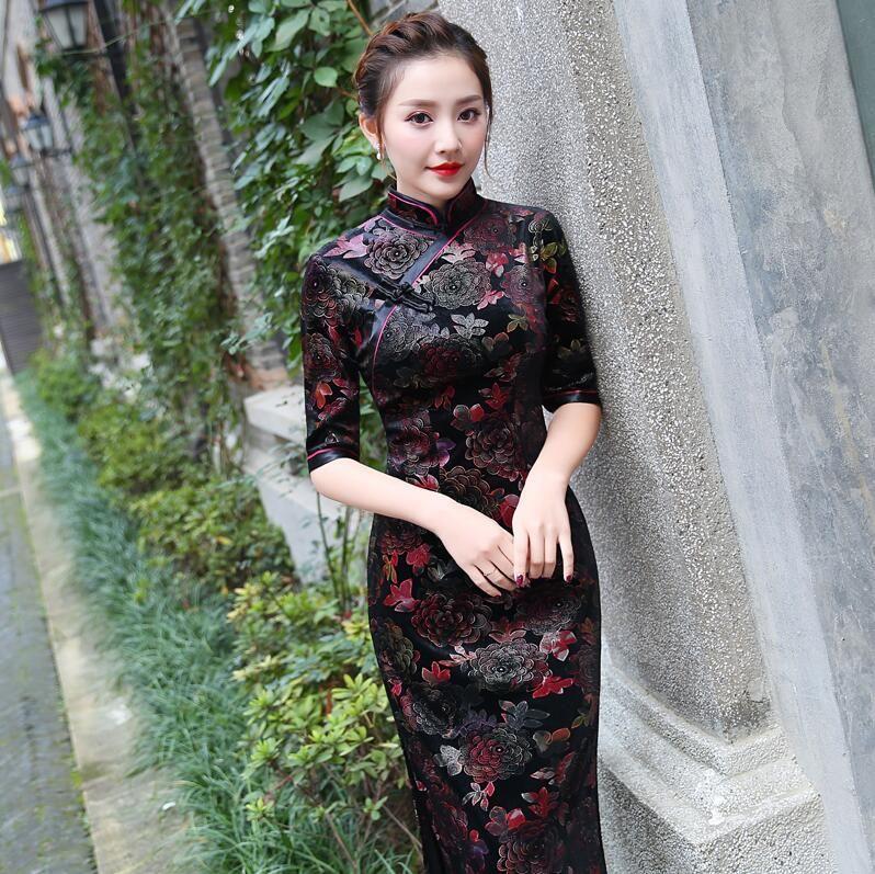 Autentico vecchio stile tradizionale cinese Shanghai retrò lungo elegante grandi dimensioni madre Xi velluto oro mother-in-law Festival cheongsam
