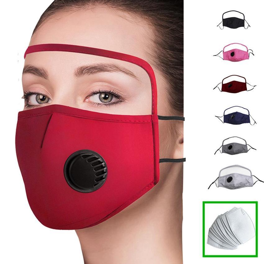2 في 1 قناع الوجه مع العين درع ضد الغبار قابل للغسل صمام القطن قناع الدراجات القابلة لإعادة الاستخدام قناع الوجه واقية مواجهة الدرع ZZA2369 200PCS
