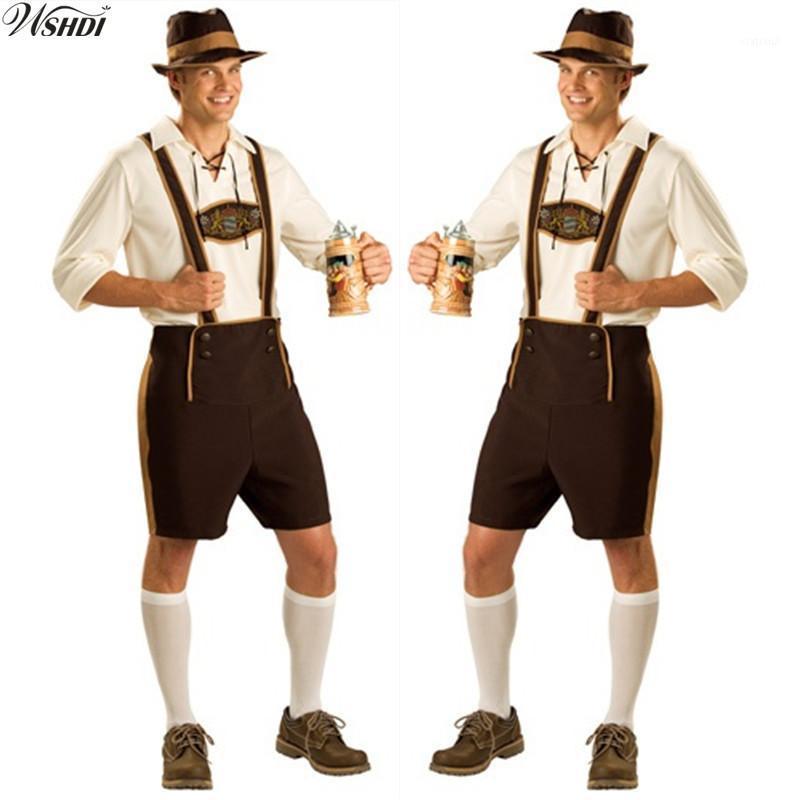 Oktoberfest Kostüm Lederhosen Bayerische Trachten Deutsch Festival-Bier Halloween für Männer Bier Kostüme Plus Size M, L, XL, 2XL