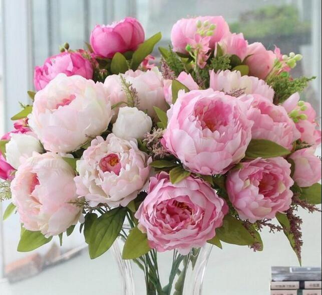 2020 Peony Bouquet Artificial Peony Silk Flowers Fake Leaf Home