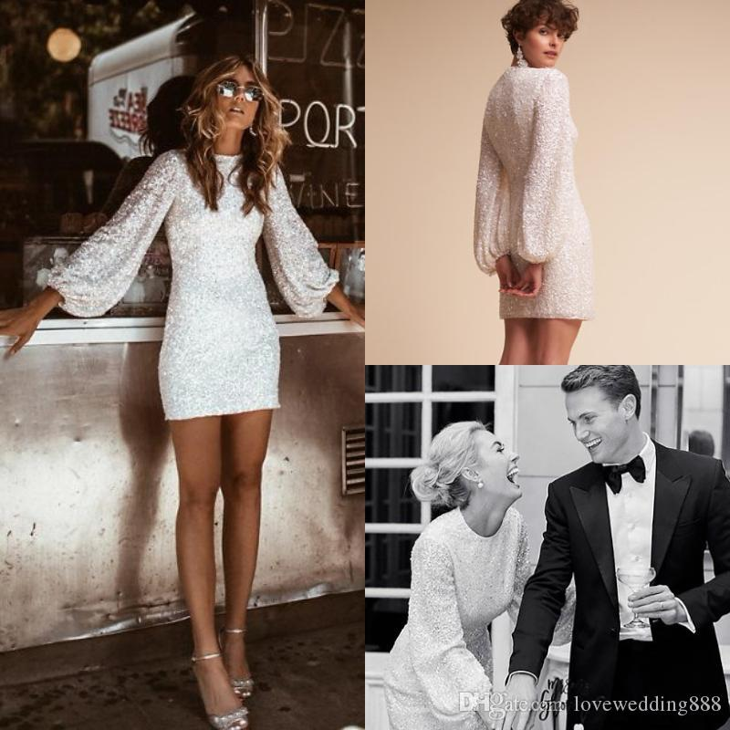 Sparkling Sequined Cocktail Dresses Long Poet Sleeves Jewel Neck Club Wear Dress Zipper Back Short/Mini Prom Gowns Party