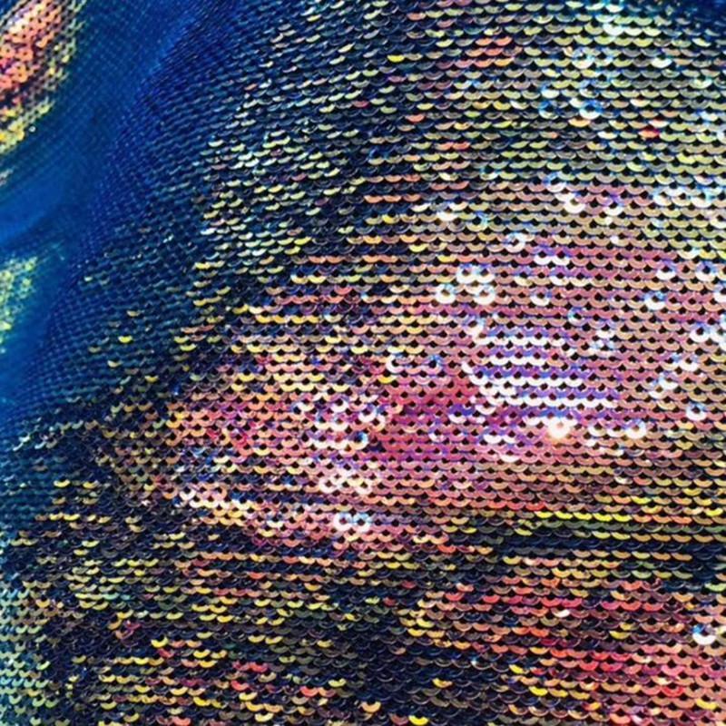 Pesce di colore vestiti di fantasia scala tessuto in poliestere lucido paillettes danza nozze fai da te tessuti panno Tissu elastico scrapbooking tessuto C946