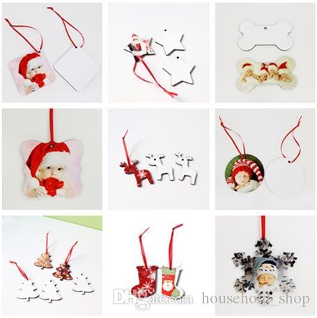 Sublimation de Noël Ornements MDF blanc Rond Carré Neige Forme Décorations MDF chaud Transfert Impression Coaster blanc multi-styles A02