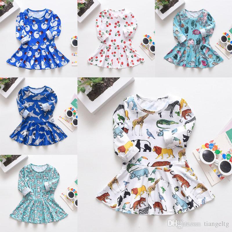 여자 인쇄 드레스 (6) 디자인 긴 소매면 크리스마스 만화 체리 공룡 상어 드레스 어린이 의류 여자 의상 9M-5T 04