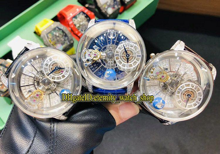 Versão estática Relógios de luxo CR7 EPIC X Chrono Tourbillon Skeleton Diamonds Dial Swiss Quartz Mens Watch Diamond Case Couro