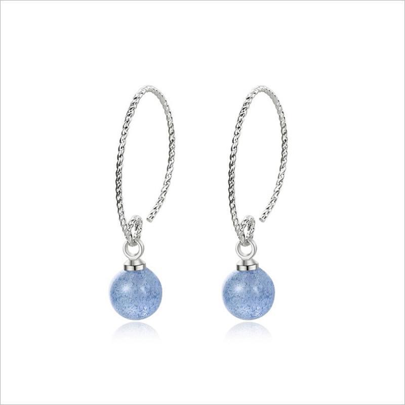 Ocean Blue Kristall-Charme-Ohrringe 925 Sterlingsilber-Naturstein-Kristall-Ohrringe Schmuck für Frauen-Mädchen-Ohrschmuck