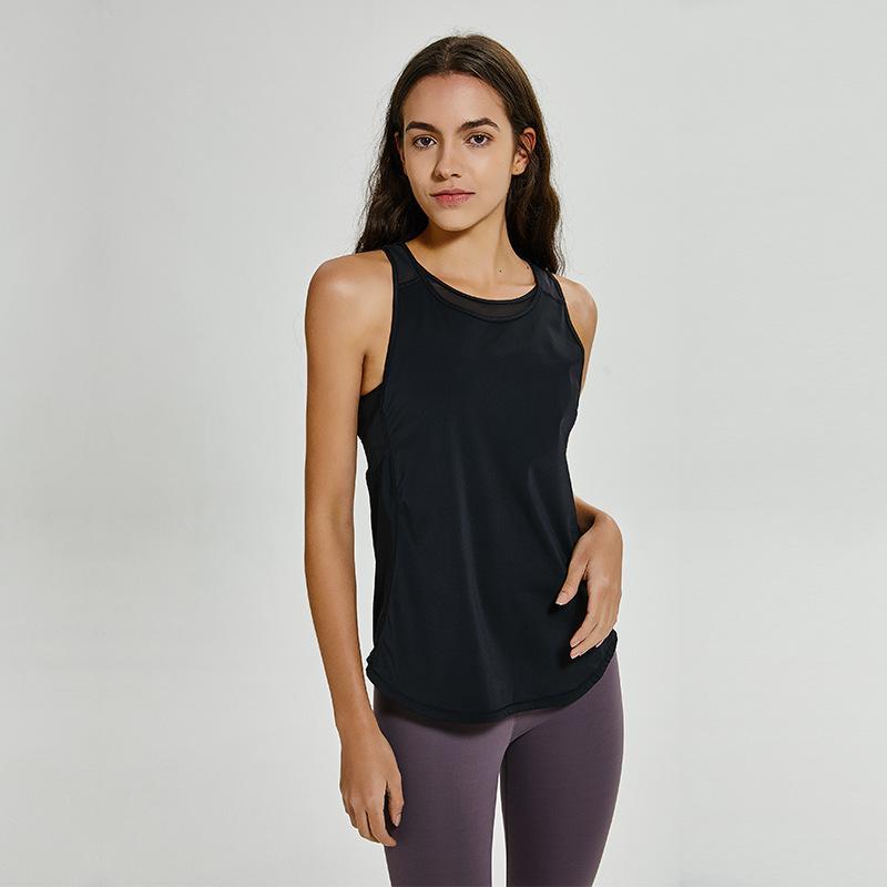 Le nuove donne di sport senza maniche Yoga Shirt Canotta Estate Quick Dry leggero spessore Materiale con T Mesh sexy di alta qualità Camicia T200401