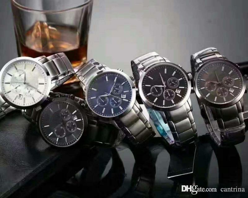 Heißer Verkauf Top Fabrik Neue AR2434 AR2448 AR2454 AR2453 AR2458 Chronograph Watch Classico Mens Armbanduhr Edelstahl Männer Watch Box
