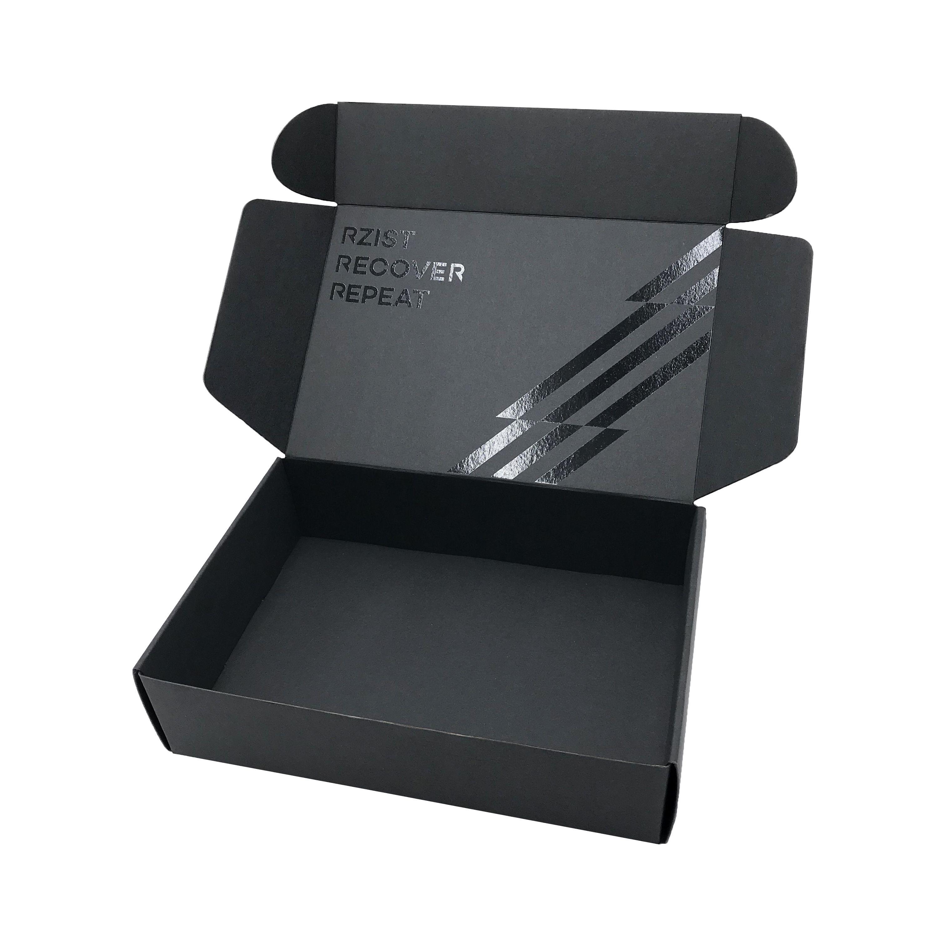 ماتي أسود مربع الشحن مع شعار إعادة تدوير الورق المقوى الصغير مربع البريد الأسود مربع التعبئة والتغليف البريد البريد