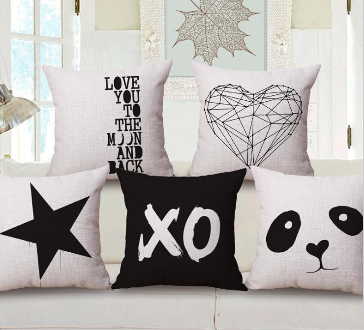 Blanco y negro Panda Heart Star Neck Body Funda de almohada Ropa de cama Funda de almohada Sofá Asiento Cojín Almohada Decoración del hogar Regalo