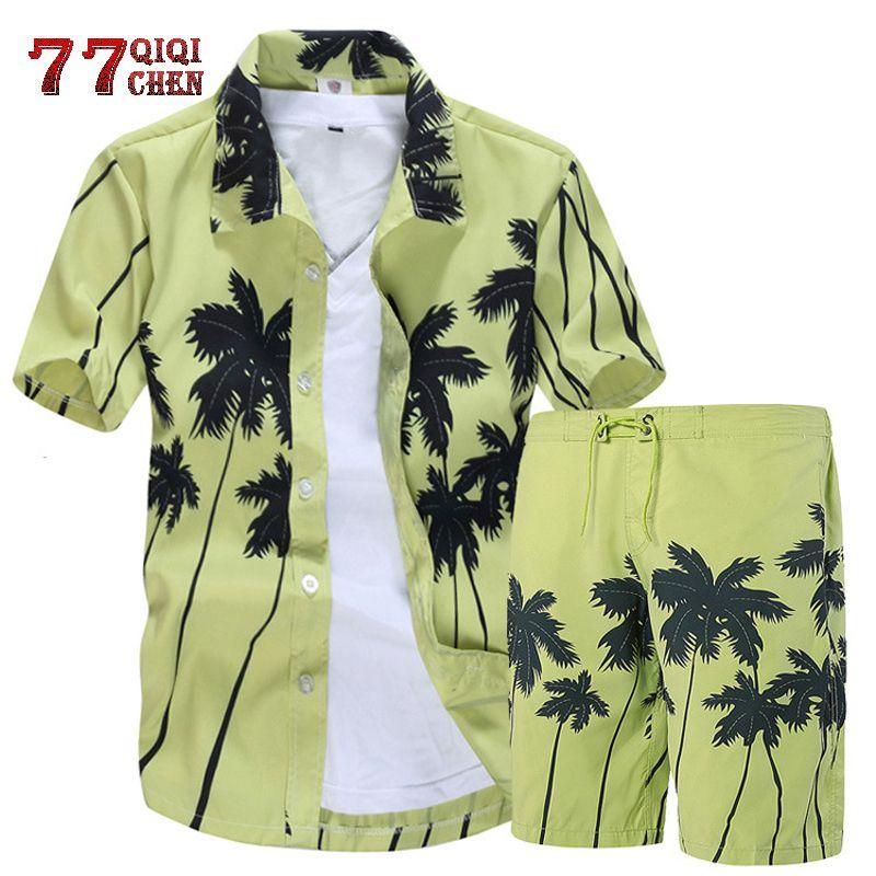 قميص رجالي هاواي تعيين 2019 موضة الصيف الزهور شيرت + طباعة شاطئ السراويل القصيرة الأكمام رياضية للرجال HOMBRE مجموعات روبا