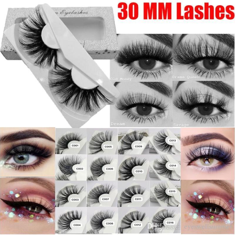 30mm Mink Eyelashes 100% mink Hair False Eyelashes Wispy Fluffy Lashes Eye Makeup Tools Multilayers Handmade Natural Lashes
