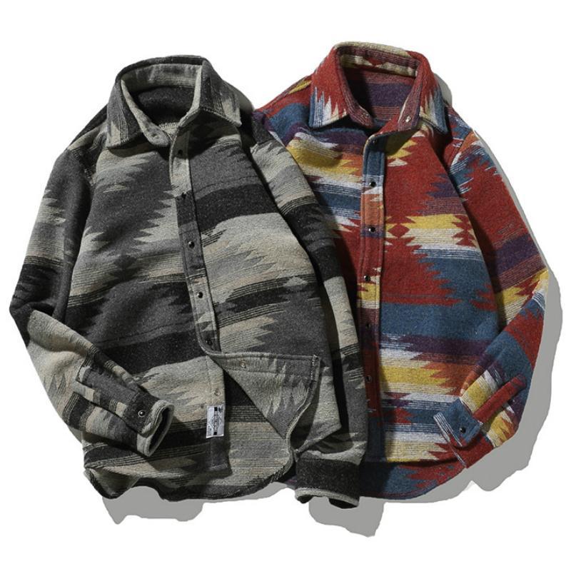 flanella Camicie Folk-custom per il vestito modello Uomini d'epoca di lana casuale di svago Gli uomini camicia più di formato Streetwear