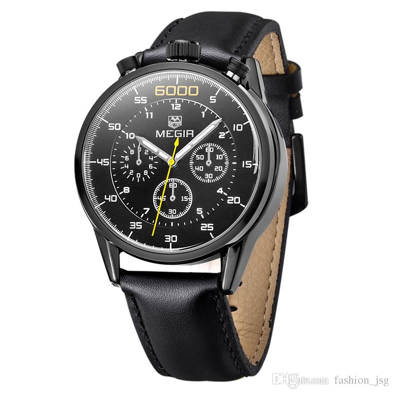 BRW Fashion 3D Design Quartz Watch Men Nubuck Leather Strap 3D Number Dial Calendar Royal Wristwatches relogio masculino