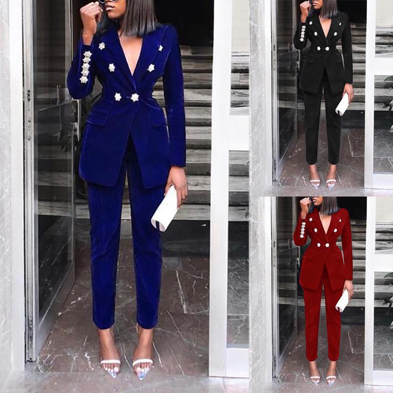 Imposta estate per le donne 2019 Nuovo Navy Blue scollo a V lungo sexy manica 2 Pezzo Pezzo Set Outfits alta qualità due Set Suit
