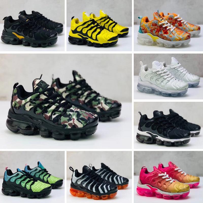Nuevos niños TN Plus muchacha del bebé de los niños zapatos atléticos de la zapatilla de deporte de moda al aire libre Negro Blanco Multi camuflaje zapatos corrientes Eur28-35