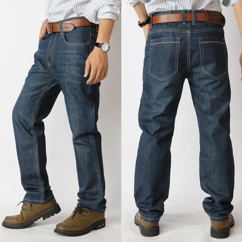 Эластичный пояс новое поступление высокое качество летние мужские зимние джинсы мужской прилив свободные прямые плюс размер 30-40 42 44 46 48 50 52