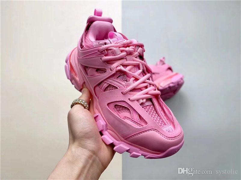 2020 Veröffentlicht Strecke Paris Triple S 3.0 Sneaker Tess s. Gomma Rosa MAILLE WEISS / ORANGE Laufschuhe Plattform