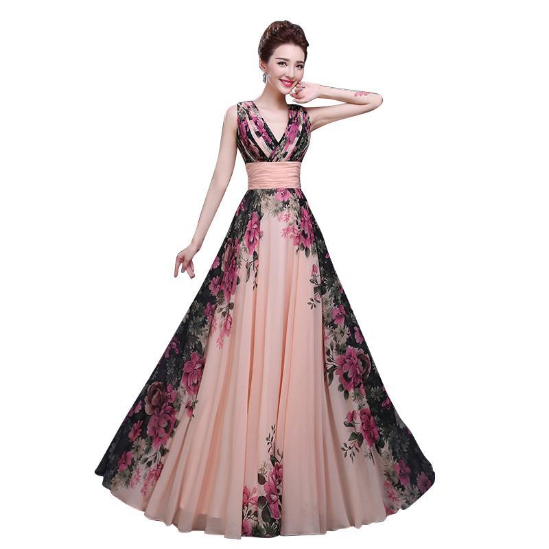 꽃 프린트 V 넥 민소매 쉬폰 A 라인 공식적인 이브닝 드레스 긴 길이의 저녁 파티 파티 드레스 임신
