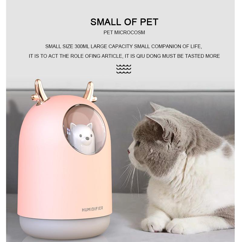 ELOOLE 300ML USB Ultrasonic Air Humidifier For Car Office Mini Aroma Essential Oil Humidificador with cool cute cat led 5PCS ZY-JS-0