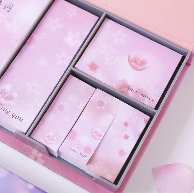 새로운 벚꽃 Florlas 스티커 메모 세트 상자 아름다운 별이 빛나는 하늘 행성 메모 패드 일기 사무실 문구 학교 용품