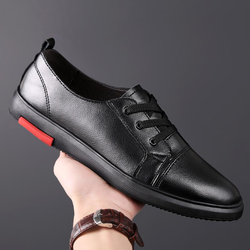 Mens casual Shoes genuine Leather Oxford Shoes For Men lace up Classic Italy Black White breathable Zapatos Piel Hombr