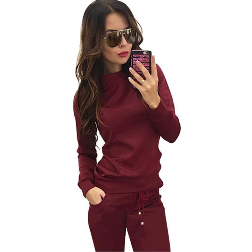 Yeni Kadınlar Şarap Kırmızısı Kayısı -Colored 2 parçalı Kazak + Uzun Pantolon Dinlence Tracksuits Kadın Moda Sıcak Giysiler