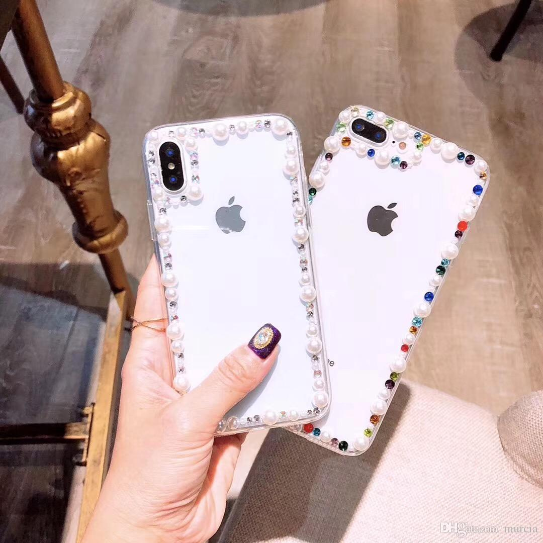 Bling Crystal Golden Imperial Pearl Sparkle Hard Case Cover for iPhone X XS MAX XR S10+ S9+ HUAWEI4s 5S 5C 6 6 Plus 7 8 Plus