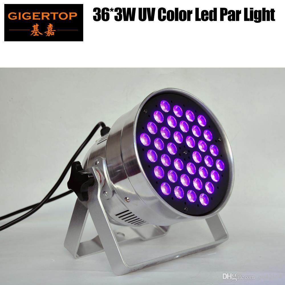 40 × علب TIPTOP LED PAR 36x3W الأشعة فوق البنفسجية اللون القضية الألومنيوم مع القوس الصغيرة الحجم تلميع السطح 25 درجة عدسة 3 دبوس XLR IN / OUT موصل