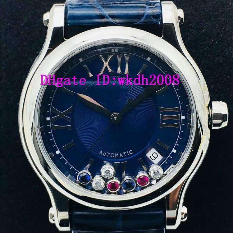 NR fábrica V2 Nueva Happy Sport Diamante señoras reloj ETA 2892 mecánicos automáticos de las mujeres Relojes 28800 VPH zafiro correa de piel de cocodrilo