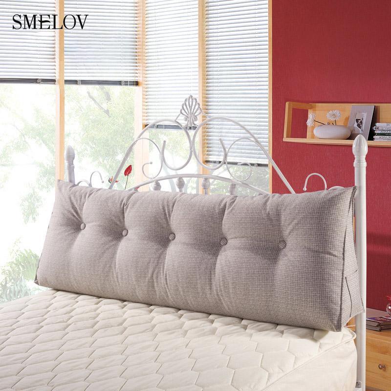 Pure Color Cotton Linen Large Big Long Wedge Bed Pillow Standard
