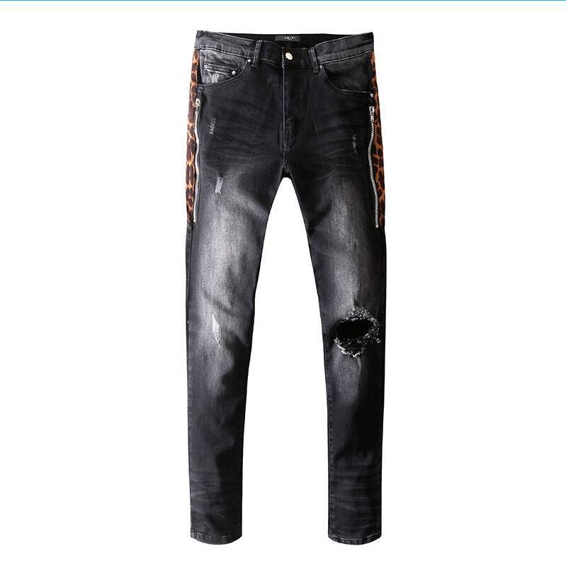 Mens Distressed rasgado Biker Jeans Slim Fit Motociclista Denim For Men Fashion Designer Hip Hop Mens Jeans calças desenhador em linha reta fora