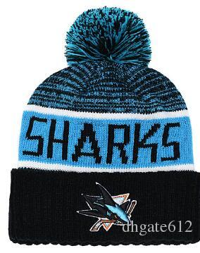 SHARKS Beanie Sideline Cold Weather Graphite Official Revers Sport Knit Hat All Teams winter Warm Knitted Wool Skull Cap 00