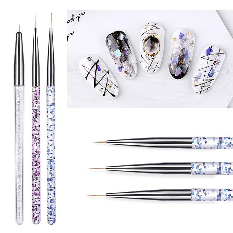 9-11mm 3pcs / set de uñas de arte UV Gel Crystal Brush acrílico fino del trazador de líneas de dibujo pintura de la pluma rayas de flores herramientas del Kit de uñas
