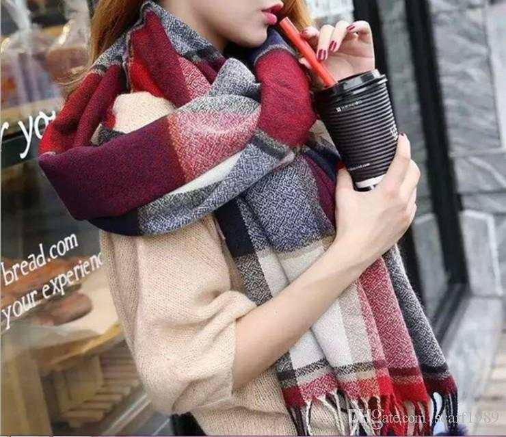 New autumn and winter imitation cashmere thickened long rabbit wool suspension ball plaid scarf neck British scarf shawl