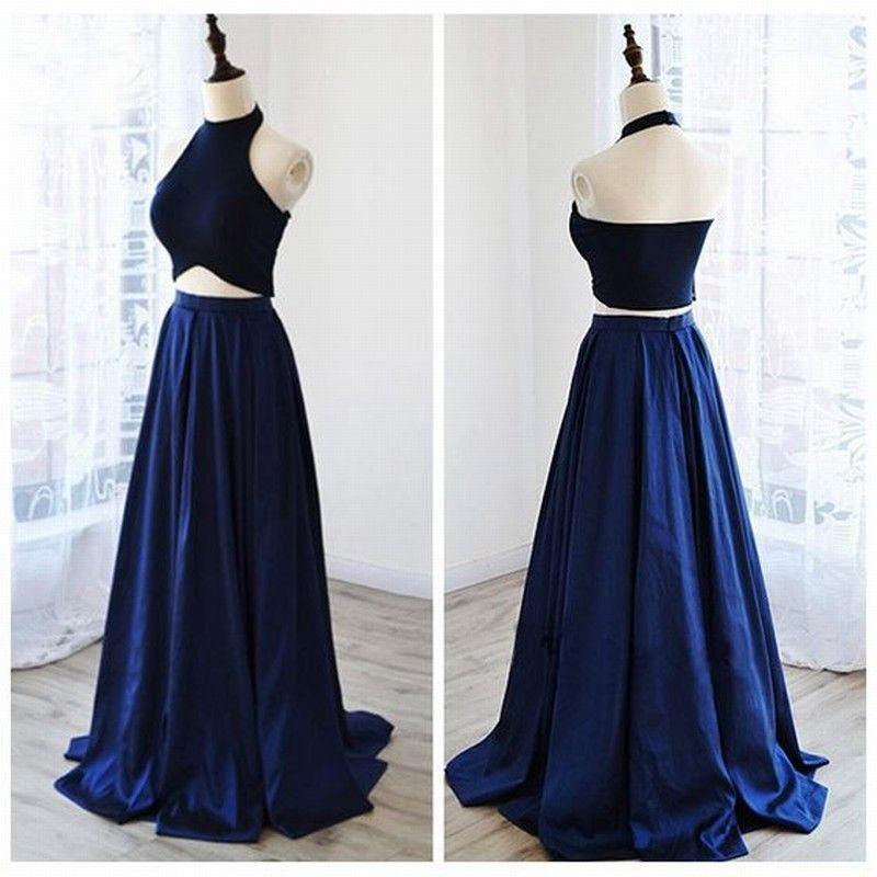 Compre Vestido Azul Oscuro De Dos Piezas Vestidos De Noche Vestidos Largos De Noche Vestido De Novia Elegante Ocasión Especial Vestido De Fiesta De